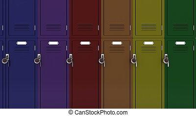 学校, ジム, ロッカー