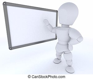 man with White class room drywipe marker board - 3D render...