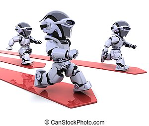 Robots leading the race - 3D render of Robots leading the...