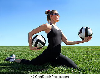 Exercising woman - Young pretty woman exercising on green...