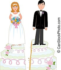 Divorce Cake - Bride and groom standing on a wedding cake...