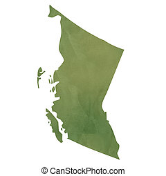 British Columbia map on green paper - British Columbia...