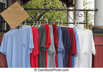 T Shirts for Sale Outdoors - Red, white, blue and gray...