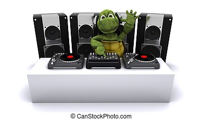 tortoise DJ mixing records on turntables - 3D render of a...