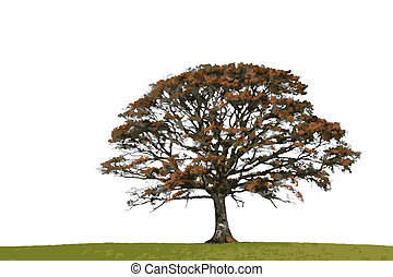 Abstract Autumn Oak - Abstract illustration of an oak tree...