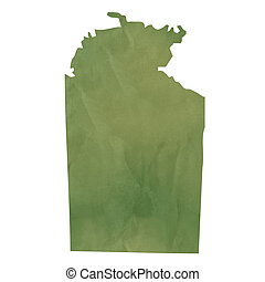 Northern Territory map on green paper - Northern Territory...