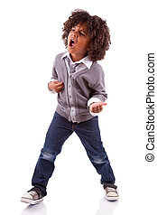 Little african american boy playing air guitar, isolated on...