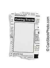Coming Events Classifieds - Fake Classified Ad, newspaper,...