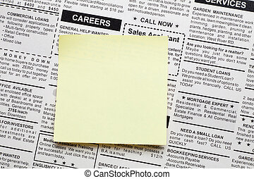 Careers - Fake Classified Ad, newspaper and sticky note