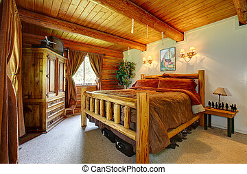 Cowboy bedroom interior with wood ceiling - Cowboy western...