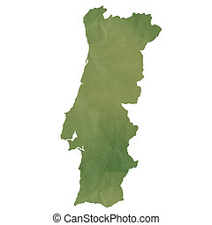 Portugal map on green paper