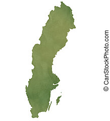 Sweden map on green paper - Sweden map in old green paper...