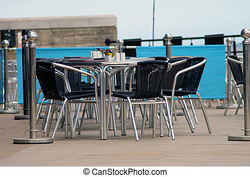 Seats and outdoor cafe table