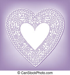 Lace Doily Heart on Pastel Lavender - Antique heart white...