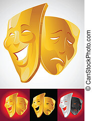 Theater masks - two gold theater masks: comedy and tragedy