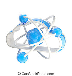 Science and cloud technology icon emblem with molecule...