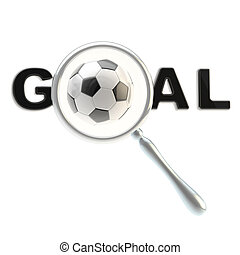 "Football word ""goal"" under magnifier"