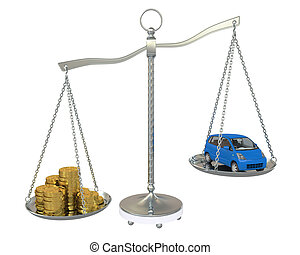 Money and the car in the gold balance scales. Isolated on...