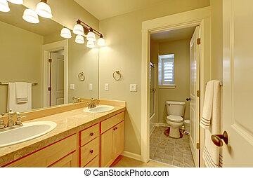 classique, deux, sombrer, salle bains, beige, couleur