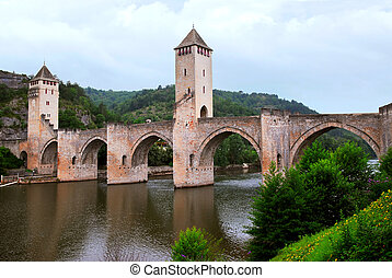Valentre bridge in Cahors France - Medieval Valentre bridge...