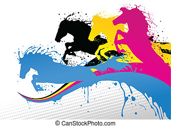 horse line cmyk - Four color hourses on CMYK lines. Include...