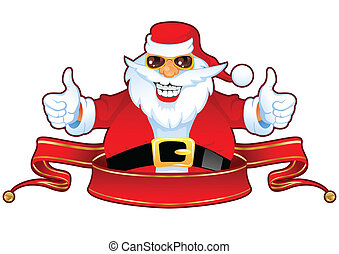 Cheerful Santa Claus in Sunglasses over Red Christmas Ribbon