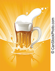 full mug fresh beer on gold background