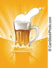 full mug fresh beer on gold background