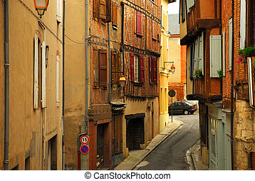 Medieval street in Albi France - Narrow medieval street in...