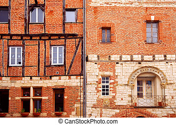 Medieval houses in Albi France - Facades of brick medieval...