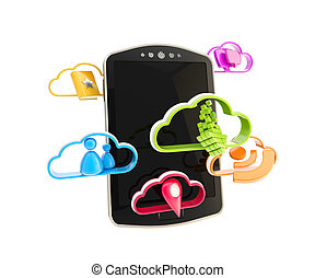 Mobile phone concept with cloud technology colorful icons...