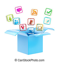 Mobile application icon inside a box