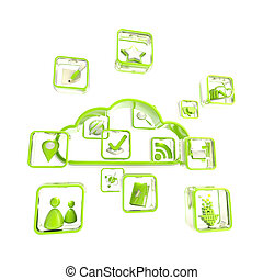 Mobile application cloud technology icon - Mobile...