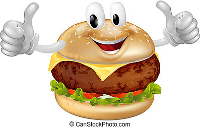 Burger Mascot - Illustration of a cute happy beef or cheese...