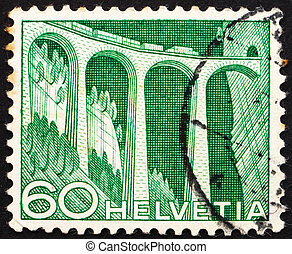 Postage stamp Switzerland 1949 Railway viaduct - SWITZERLAND...