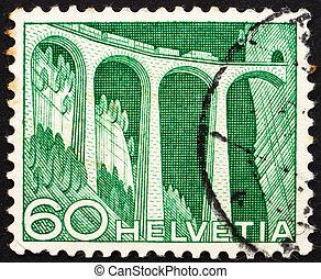 Postage stamp Switzerland 1949 Railway viaduct - SWITZERLAND...