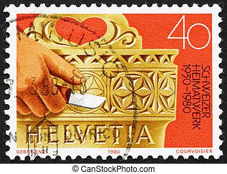 Postage stamp Switzerland 1980 Hand Carved Milk Bucket -...