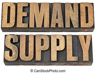 demand and supply words in wood type - demand and supply...