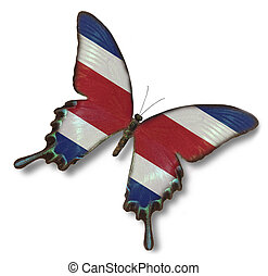 Costa Rica flag on butterfly isolated on white