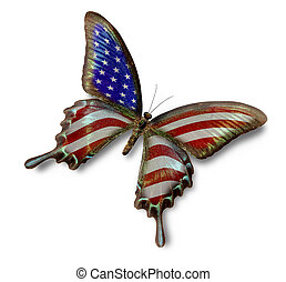 USA flag on butterfly isolated on white