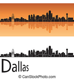 Dallas skyline in orange background in editable vector file