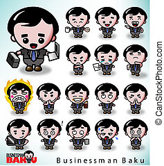 Businessman Baku in a variety of poses and facial...