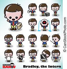 Bradley the Intern - Bradley, the Intern, in a variety of...