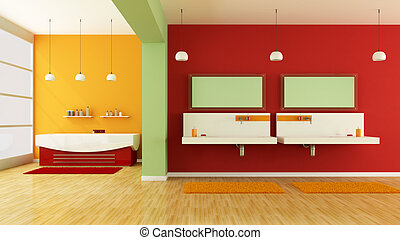 colorful bathroom - modern colorful bathroom with sink and...