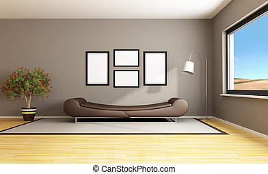 brown modern livingroom - Brown livingroom with fashion...