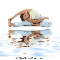 ashtanga yoga on white sand - lovely girl practicing...