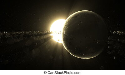 Rock Planet Eclipse - A dead planet passing over a sun