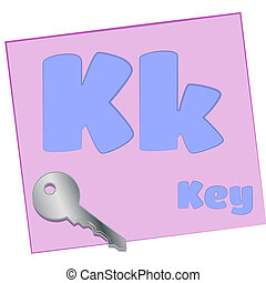 K-key - Colorful alphabet letters with words starting with...
