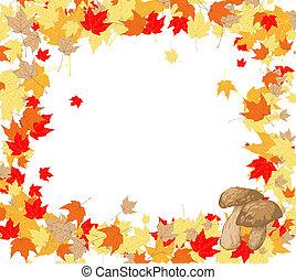 cadre, Érable, feuilles, champignons