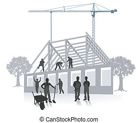 Clip Art Vector of Construction workers building house ...